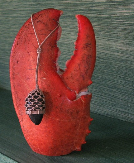 Lobster claw and netted stone