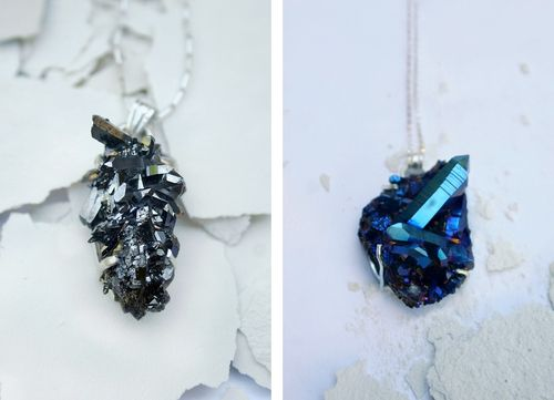 Steel and rainbow druzy mineral necklaces gems