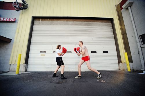 Garage boxing match