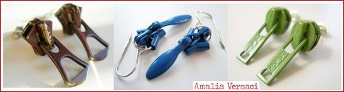 Zipper earrings vintage amalia versaci