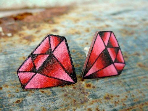 Tatoo style diamond post earrings