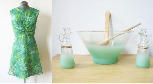 Watercolor dress and salad bowl