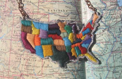 Map of america necklace
