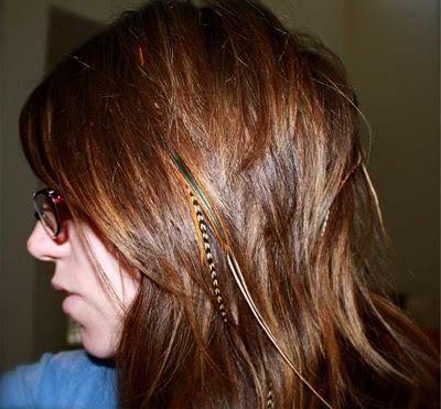 Feathers in hair Melanie Darling